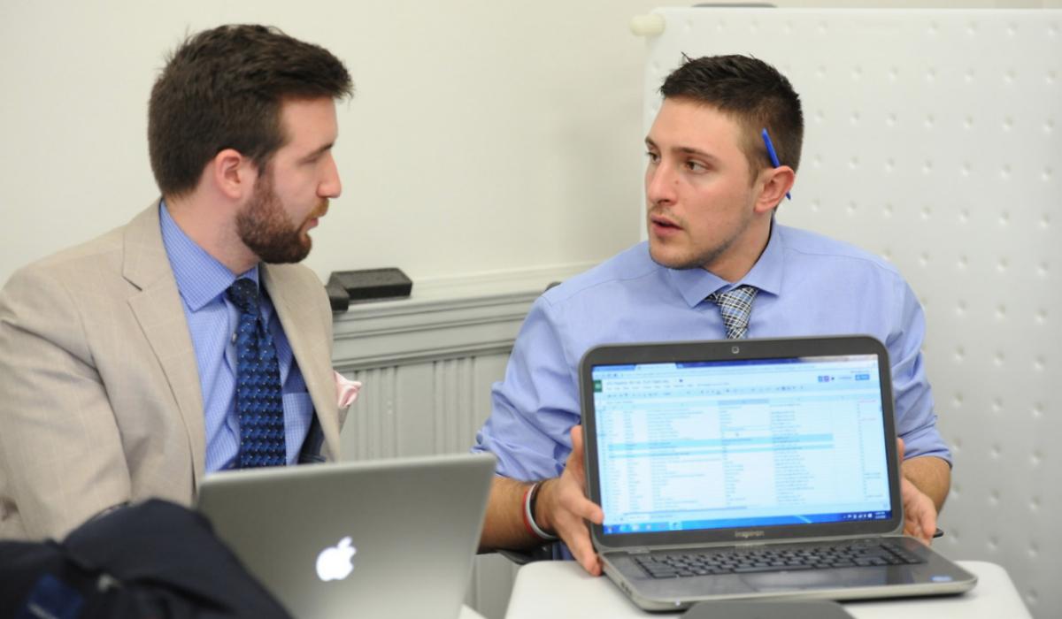Students analyzing data