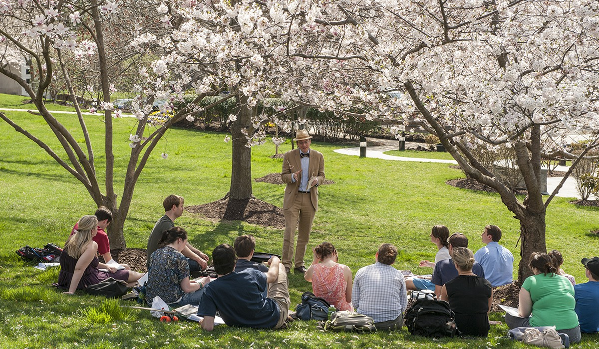 Students under the cherry blossoms