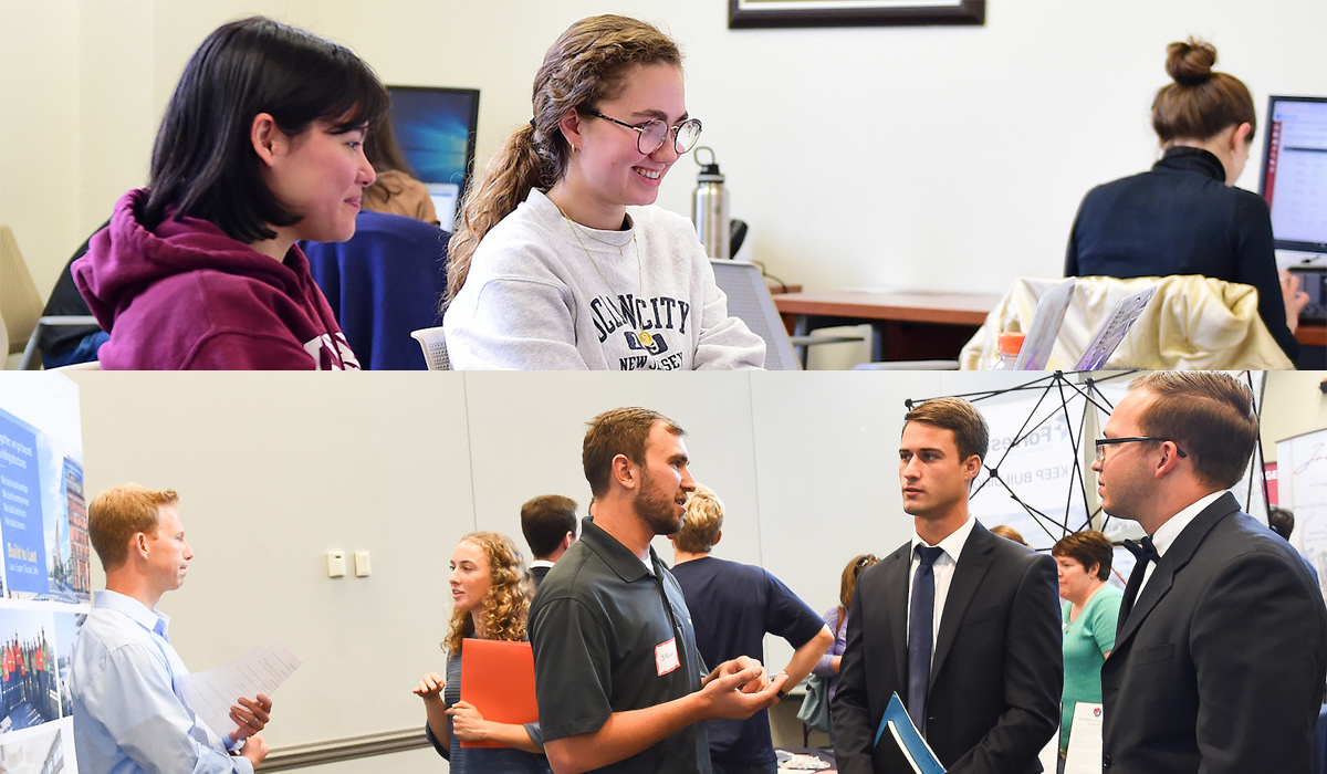 top image shows a student and tutor in the writing center; lower photo shows students and recruiters at career fair.