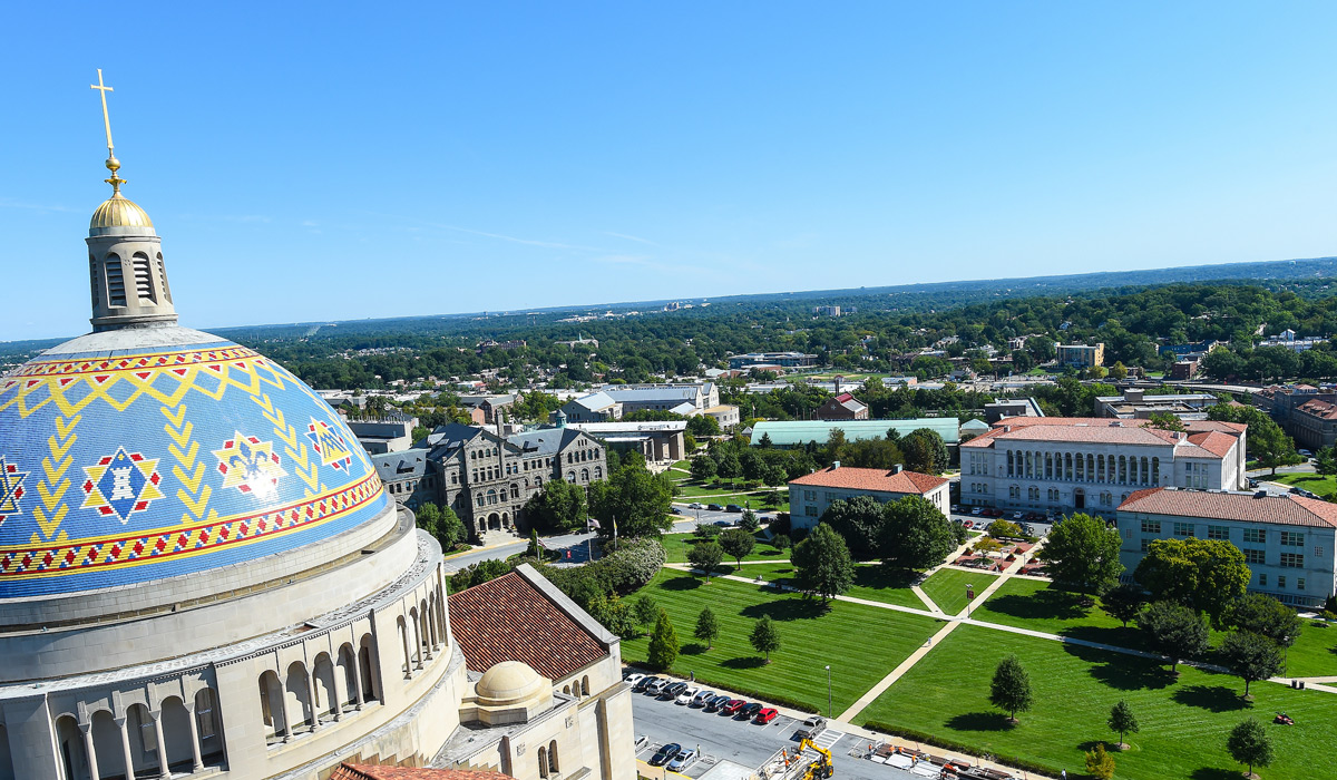 Image of campus from bell tower of Basilica