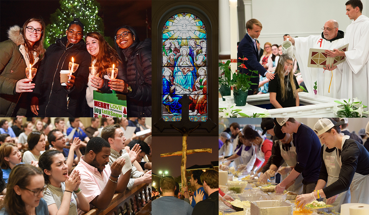 collage of Campus Ministry images including praise, Christmas tree lighting, Baptism, and Way of the Cross