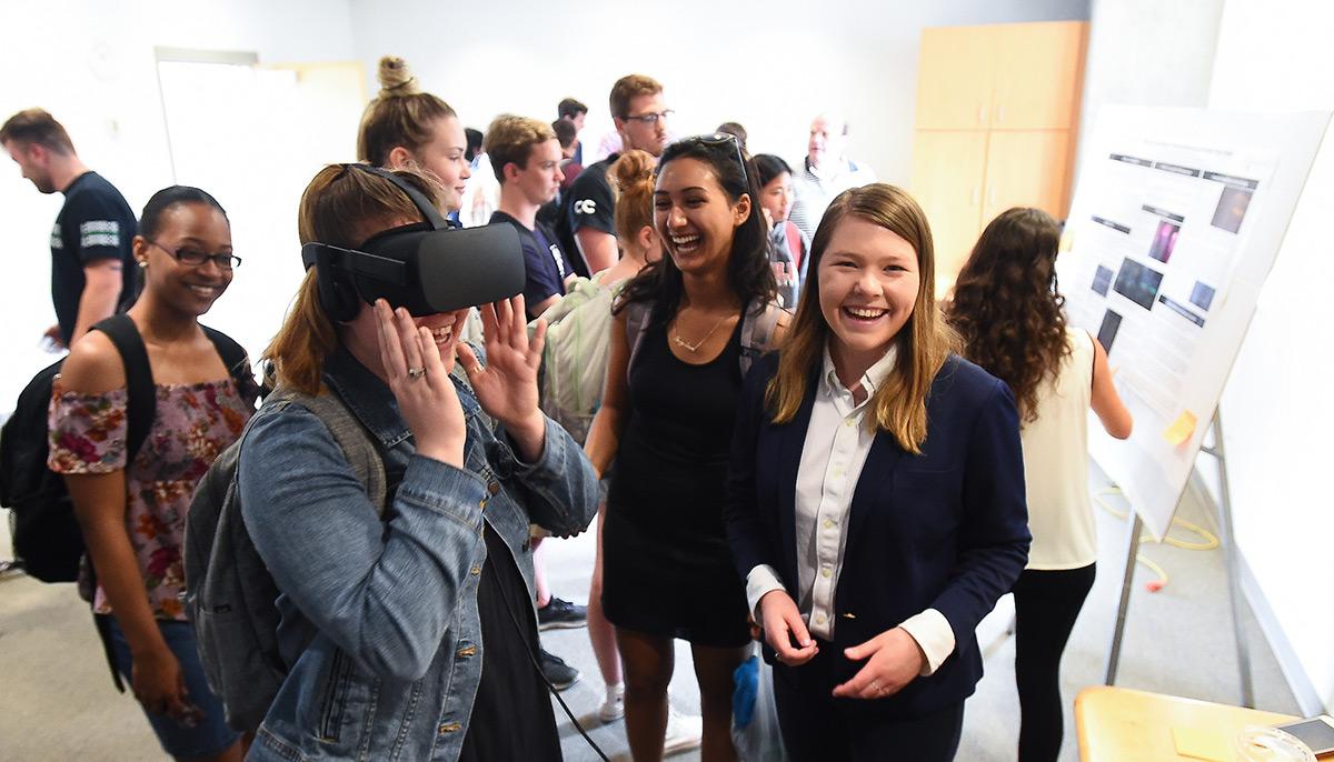 Student testing virtual reality set