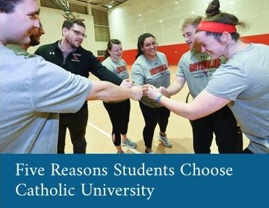 Female athletes celebrating. Text on image reads Five Reasons Students Choose Catholic University