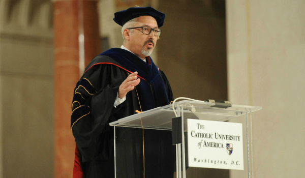 Aaron Dominguez giving his remarks during convocation