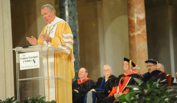 President Garvey giving his remarks during convocation