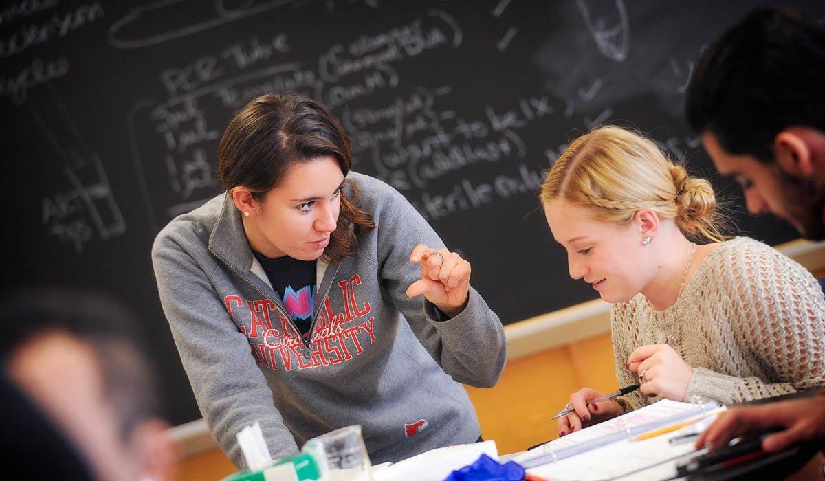 Catholic University students in classroom