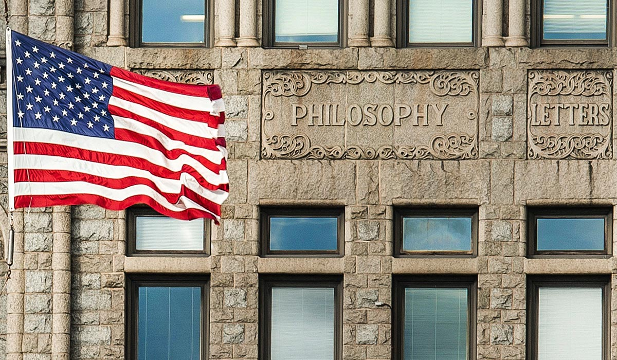 Philosophy Building with American Flag