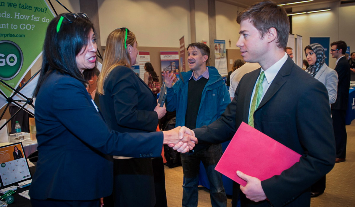 CUA student meets professional career counselor