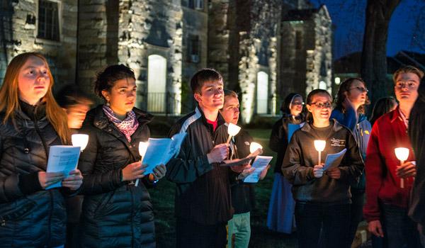 Students at night vigil