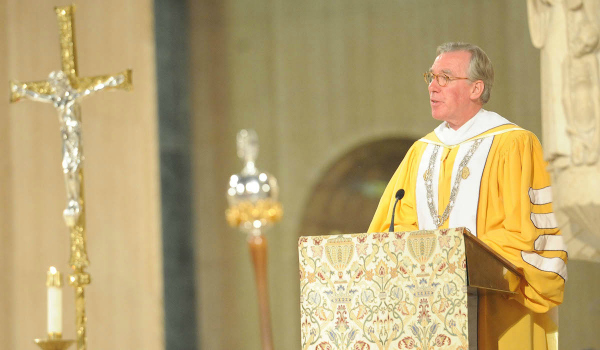 President Garvey giving his remarks during the Mass of the Holy Spirit