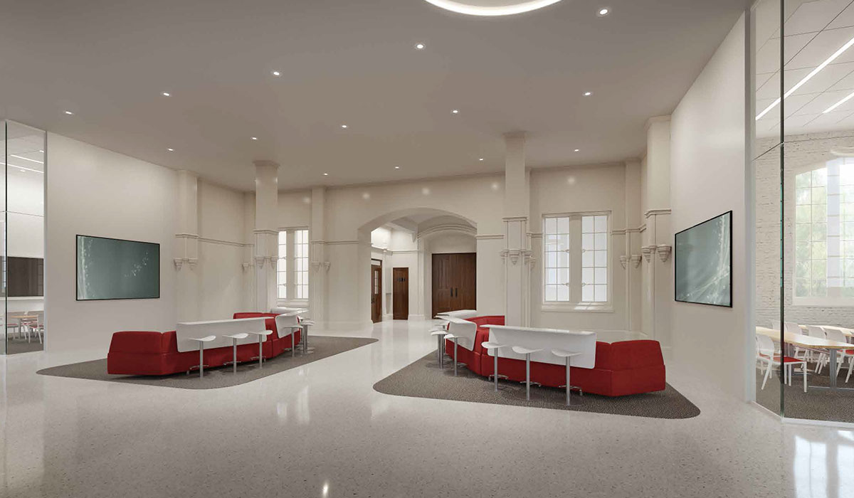 An architectural rendering shows part of the proposed interior renovation of Maloney Hall.