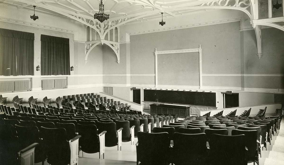 The auditorium in Maloney Hall was one of the most architecturally distinctive spaces on campus when it was first built.