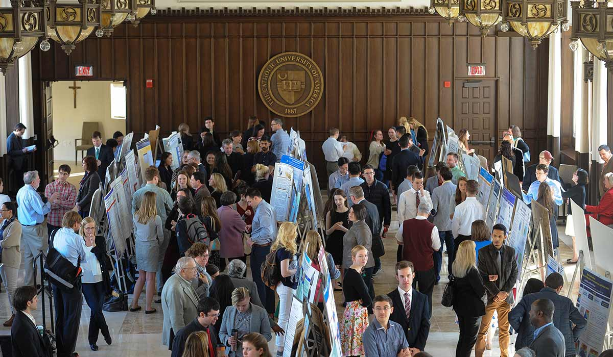 University Research Day began with more than 100 poster presentations in Heritage Hall where undergraduate, graduate, and faculty researchers explained their projects to members of the Catholic University community.