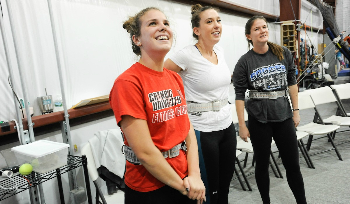 Cardinal Adventures visits trapeze school