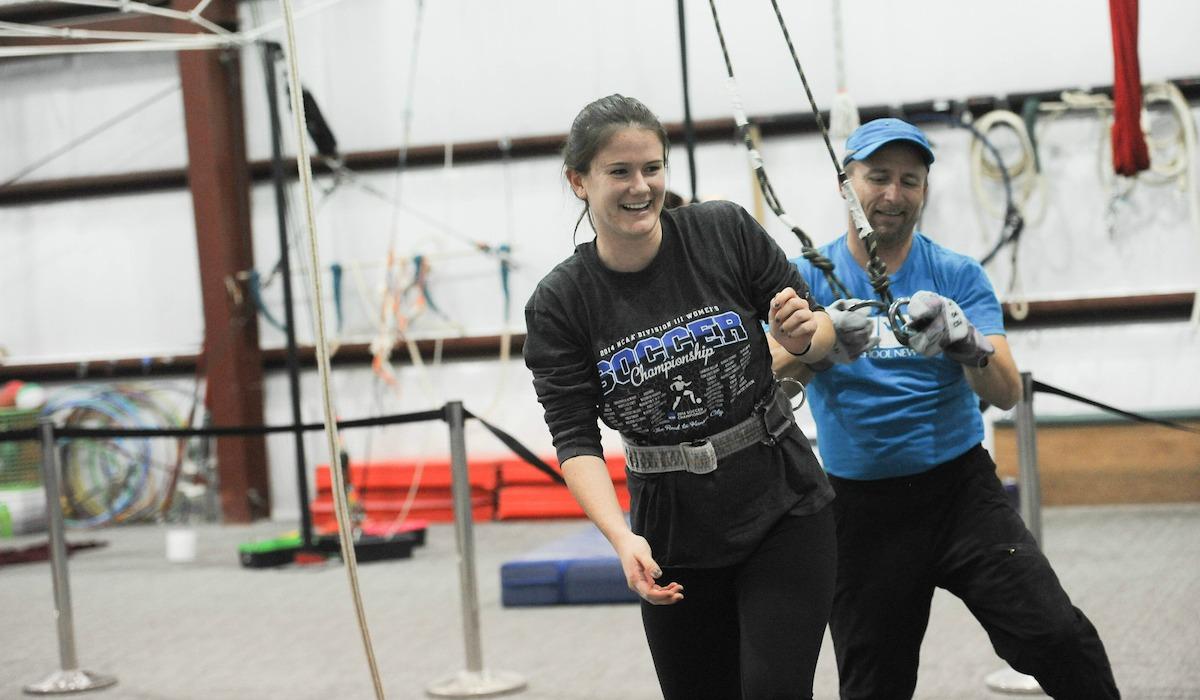 Cardinal Adventures visits a trapeze school.