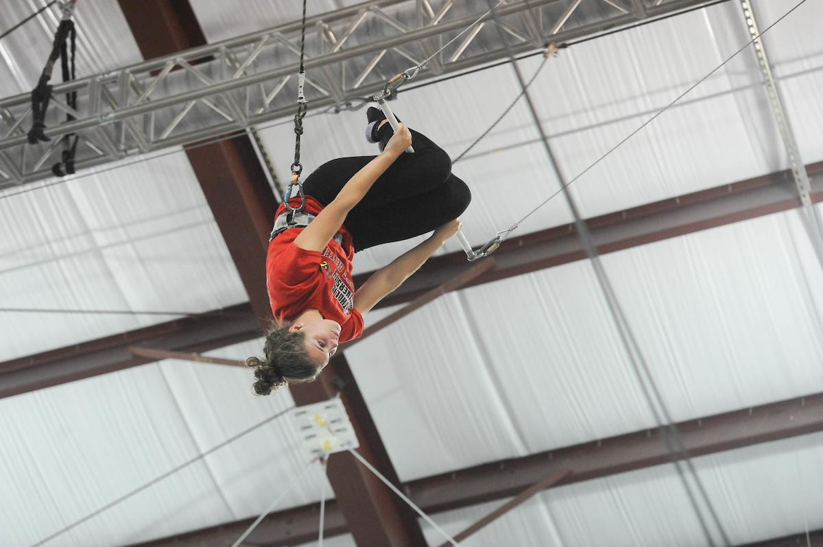 Cardinal Adventures visits a trapeze school