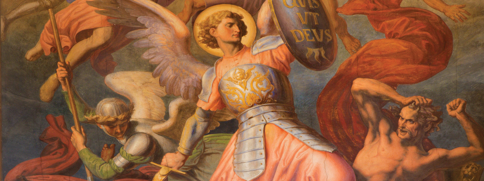 Painting of angel fighting with sword and shield