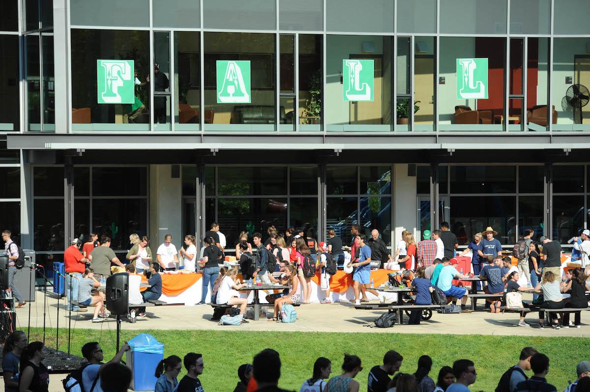 Students gathering at the Pryz