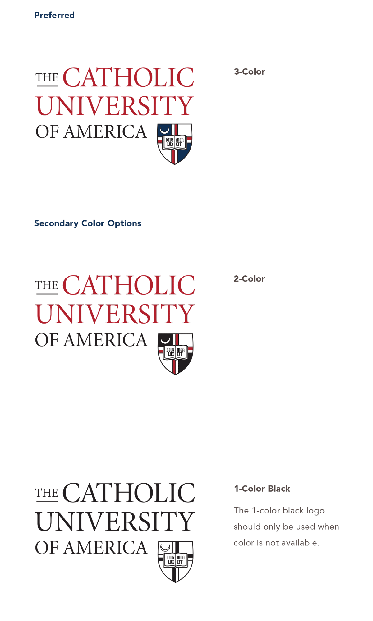 University Identity - logo color examples