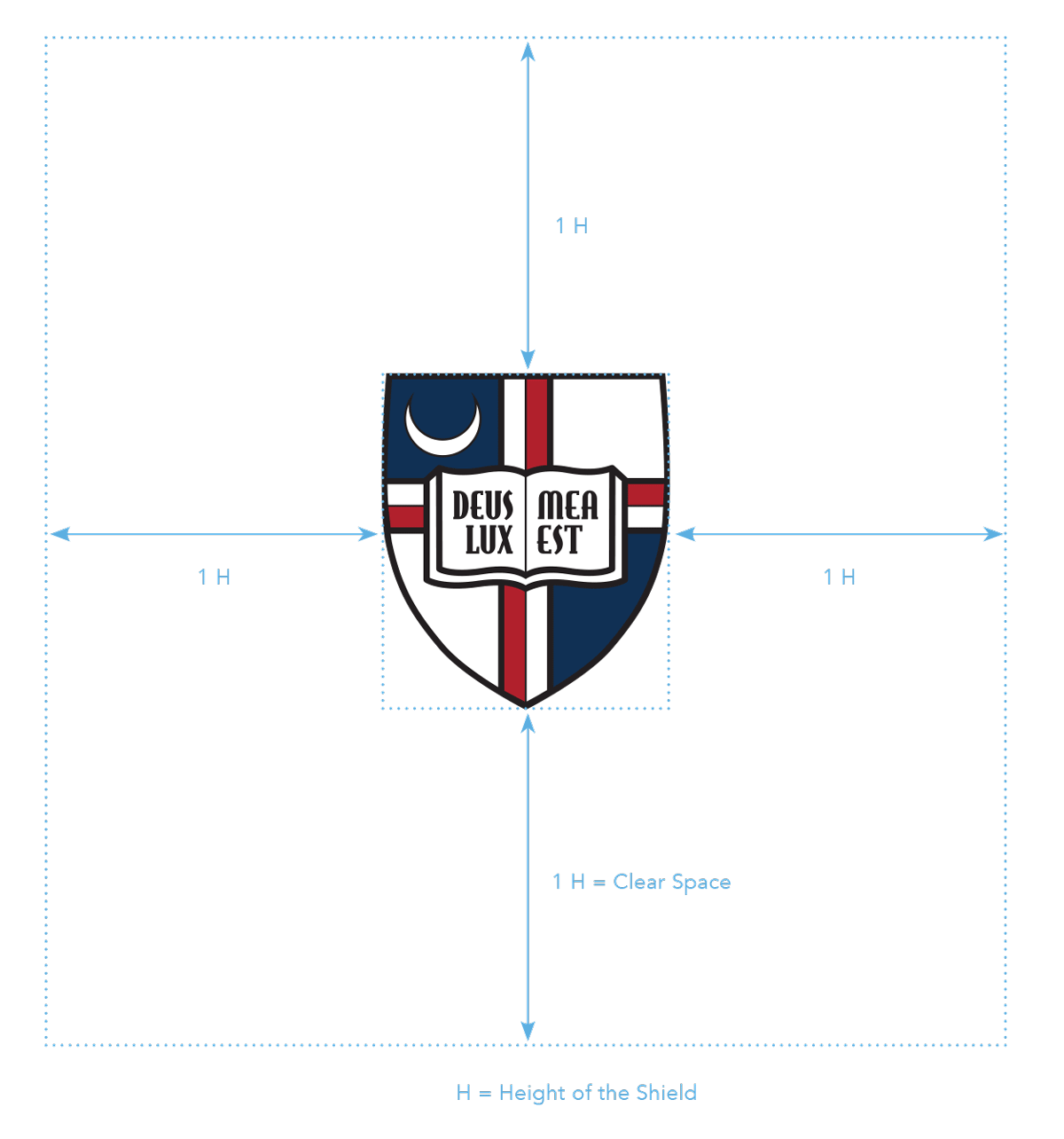 University Identity - shield clear space graphic