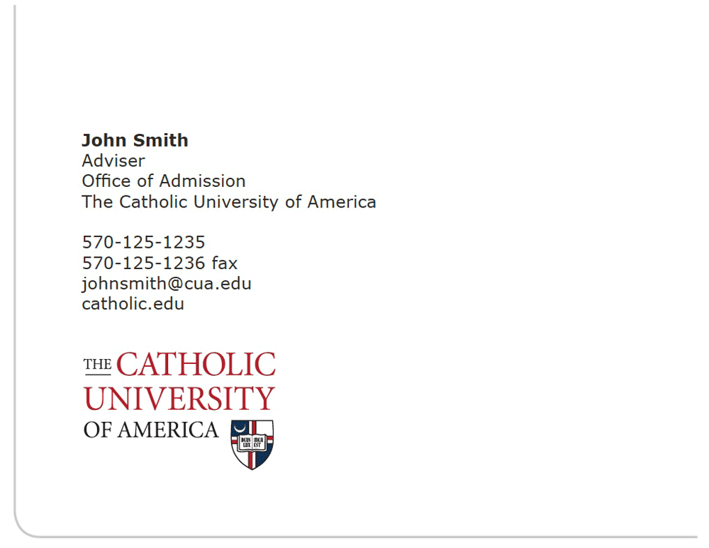 Identity Standards Section 3 Catholic University Of America Cua