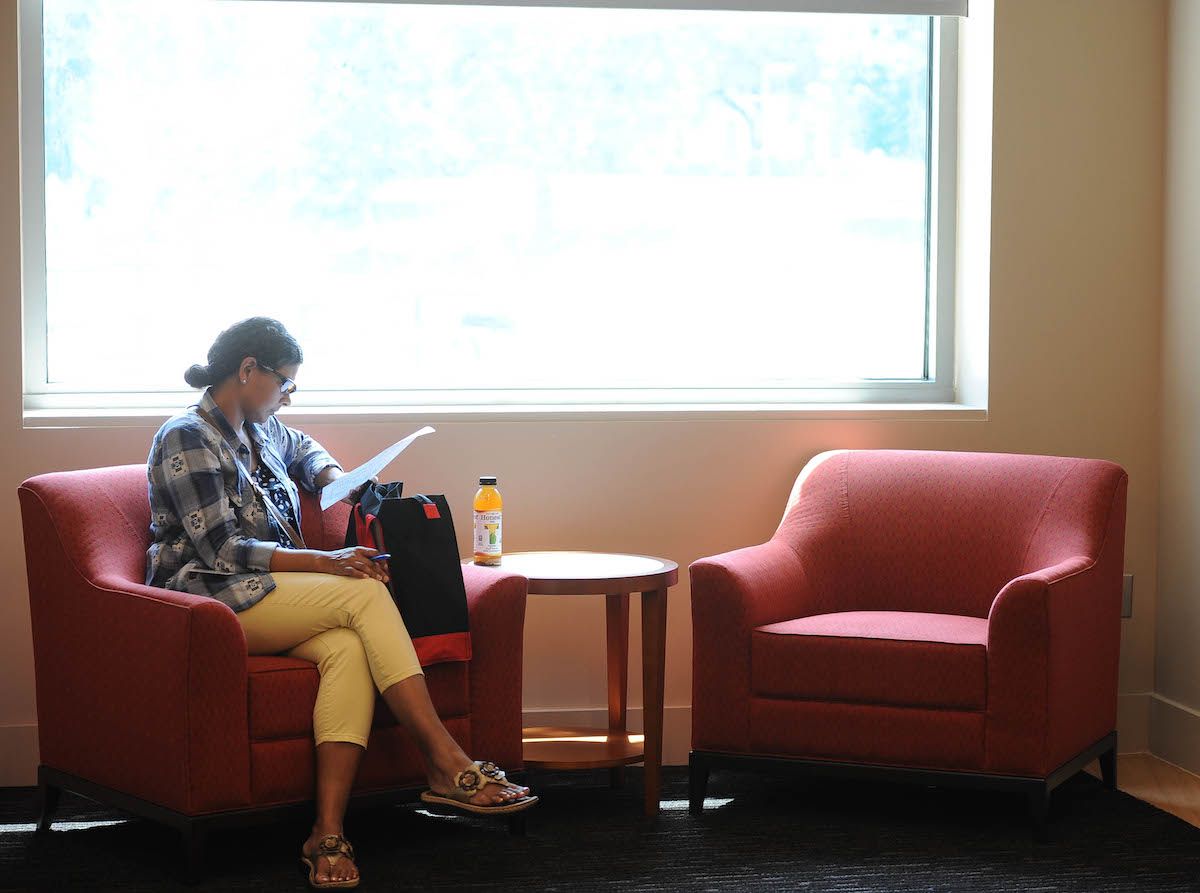 A Student enjoys the new Murphy's space.