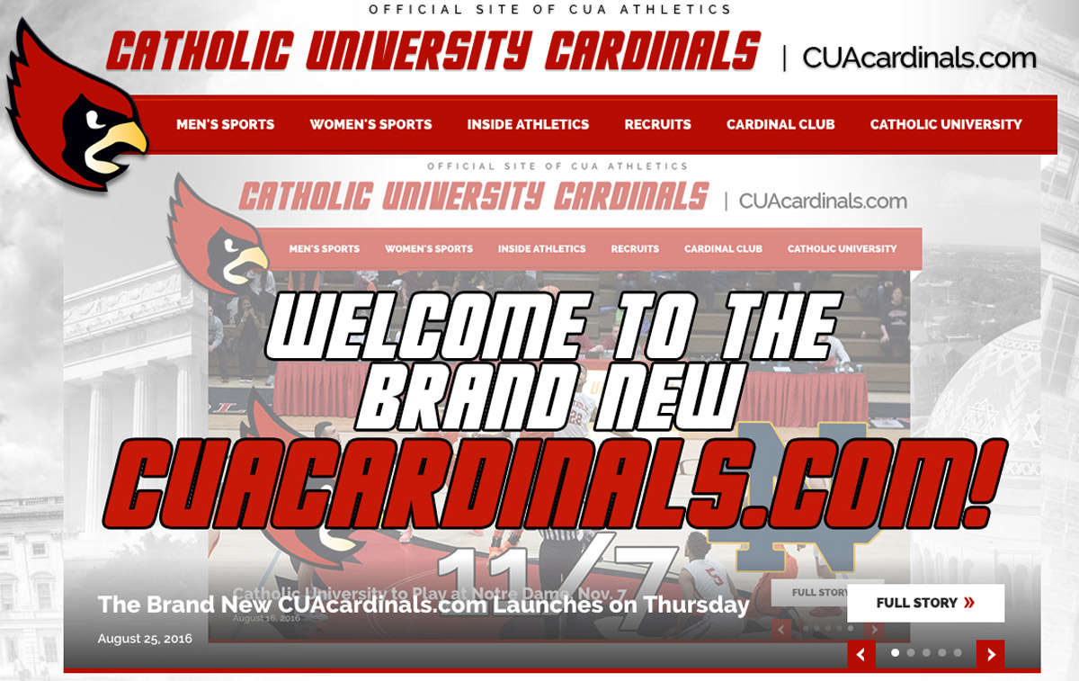 Screenshot of new CUAcardinals website