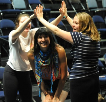 Students train during the High School Drama Institute.