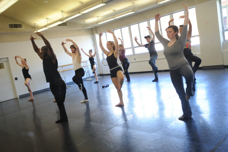 Students practice dance as part of the High School Musical Theatre Institute.