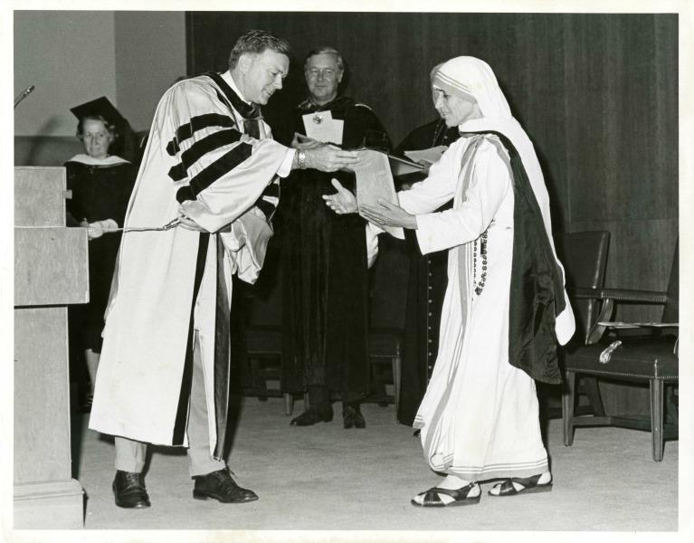 Mother Teresa receives honorary degree at Catholic University.