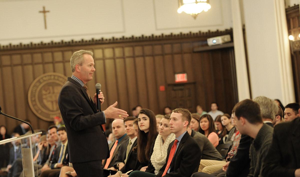 Tim Busch speaks at Catholic University