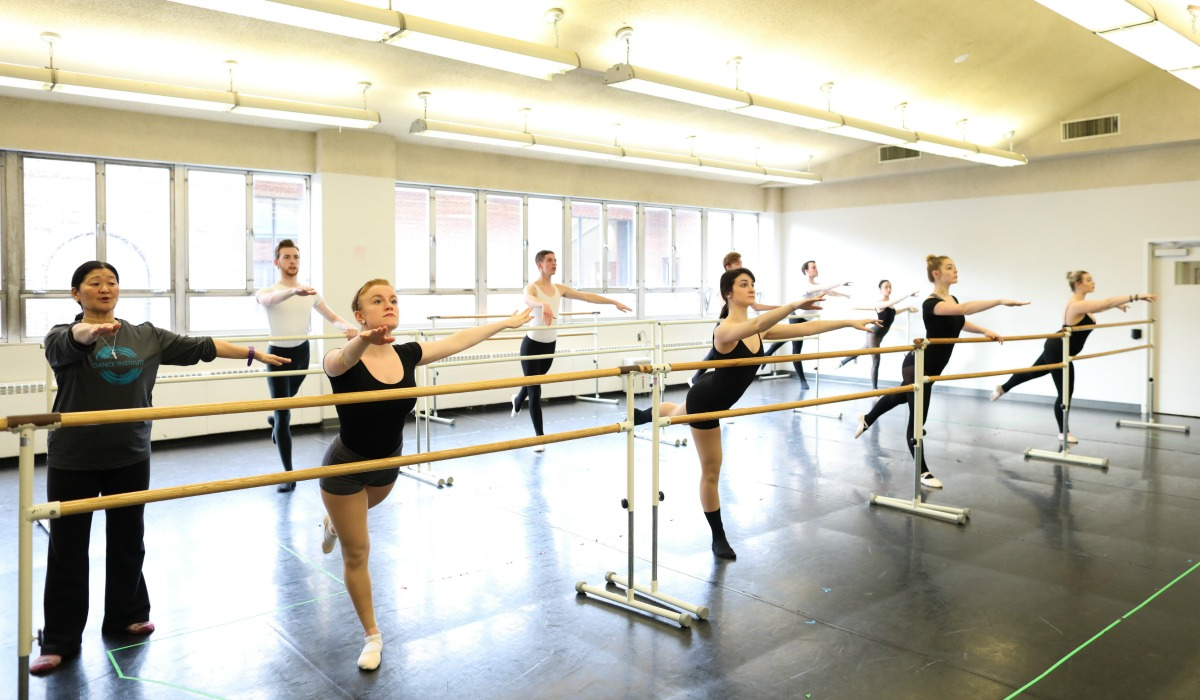 Students in Catholic University dance studio