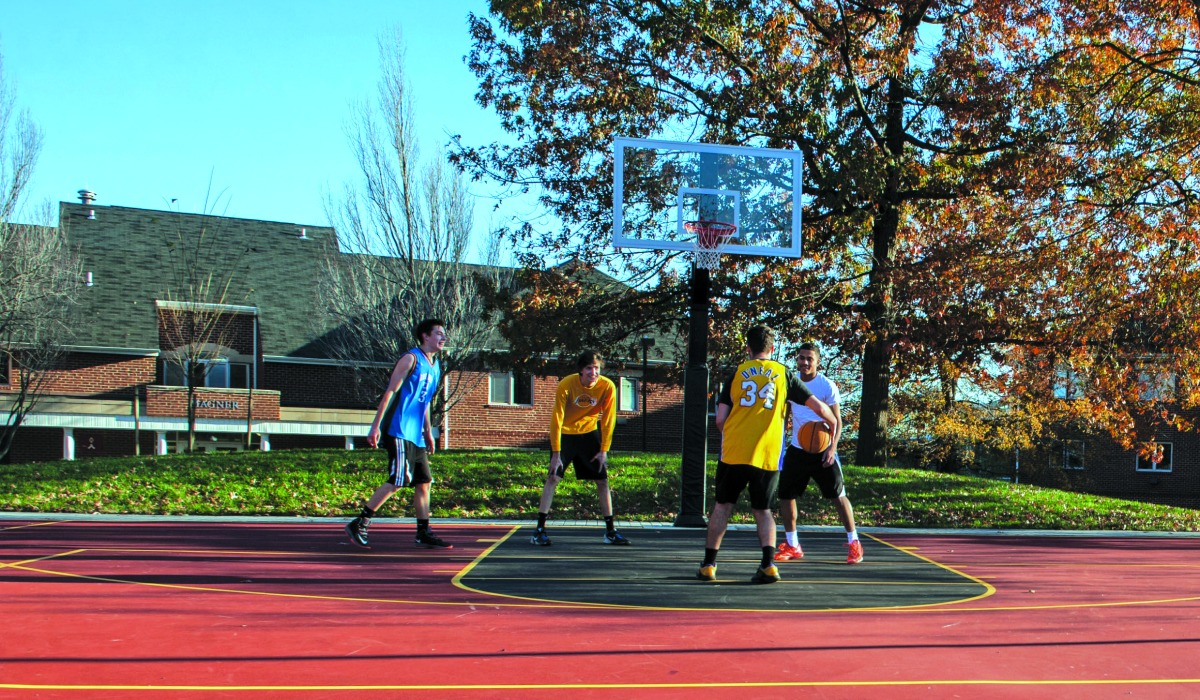 Catholic University students basketball