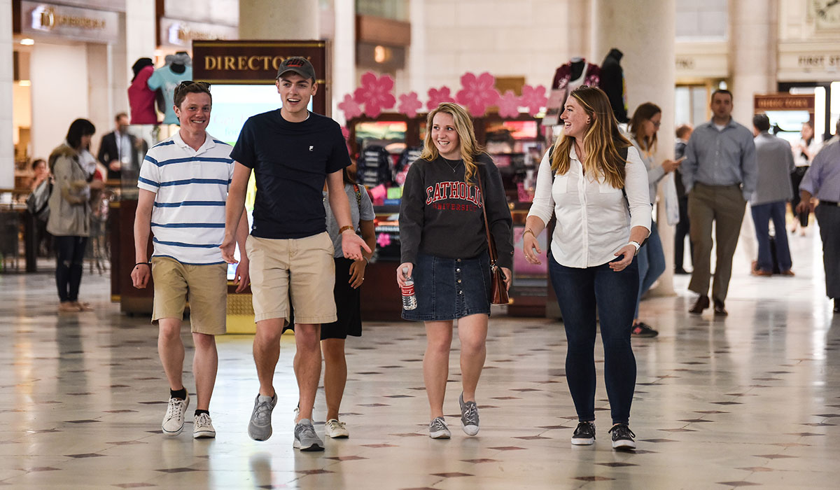 Students walking through Union Station