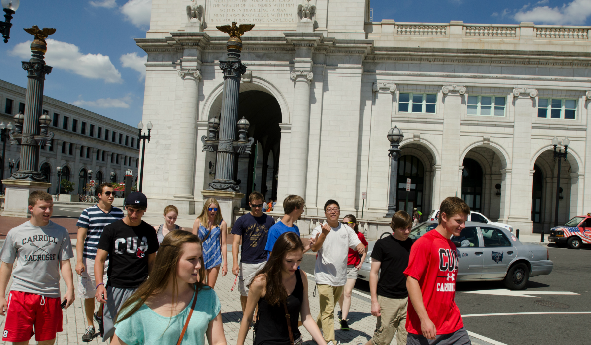 Students at Union Station
